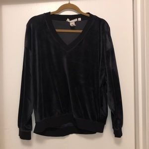 H&M Velour Sweatshirt Navy Sz S